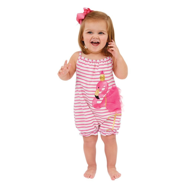 293acc7c0456 Mud Pie Baby Girl Flamingo One Piece Bubble Romper Outfit Pink 1132309 Size  9-12