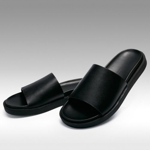Men/'s Fashion Leather Slippers Casual Comfort Slip On Sandals Summer Beach Shoes
