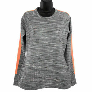 Details about Athleta Women's Sweatshirt Snowscape Crew Pullover Quilted Gray Orange Small