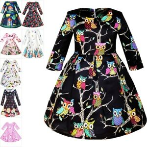 Girls-Dress-Fit-and-flare-Owl-Print-Party-Long-Sleeve-Cute-Size-4-14