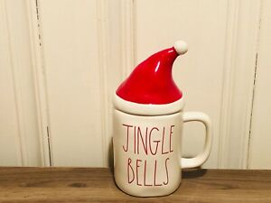 Rae-Dunn-Christmas-By-Magenta-JINGLE-BELLS-Mug-with-Red-Hat-Mug-Topper-HTF