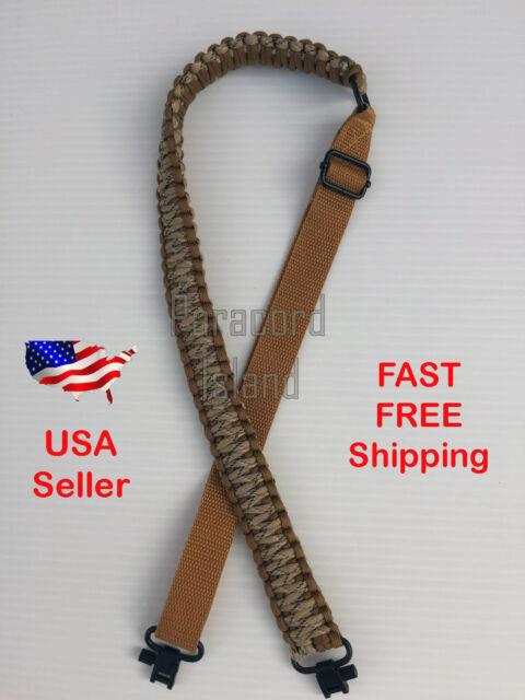 Desert Camo /& Black Adjustable Paracord 550LB Rifle Gun Sling Strap Swivels USA