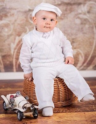 Glorious Baby Boy Christening Baptism Smart Suit Outfit Waistcoat Wedding White 0-18 M