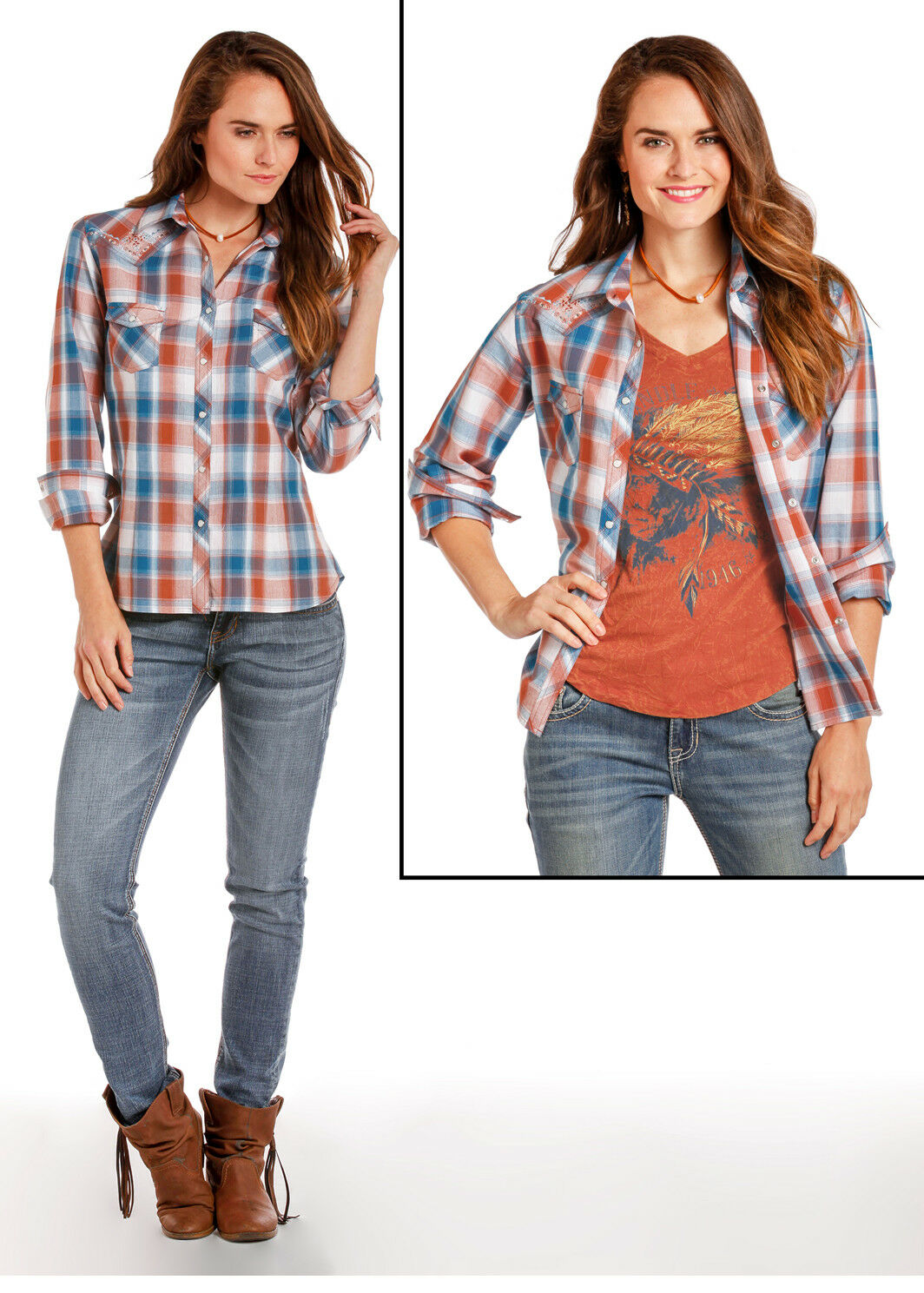 Panhandle Slim Blau & Burnt Orange Plaid Snap Up Western Shirt 22S5854 22X5854