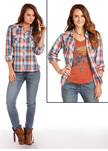 Panhandle-Slim-Blue-amp-Burnt-Orange-Plaid-Snap-Up-Western-Shirt-22S5854-22X5854