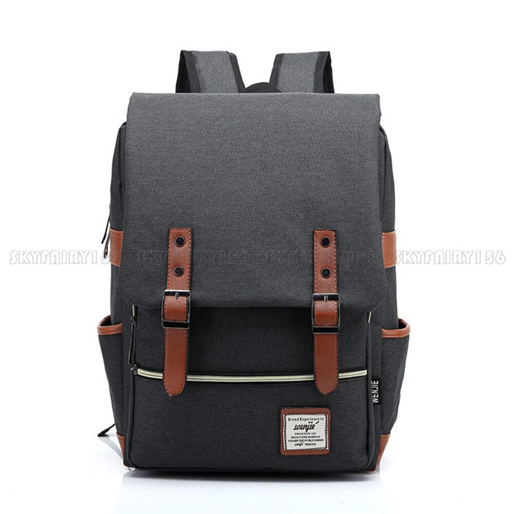 Canvas Leather Travel Backpack Rucksack Laptop School Bag for Girl Women Men. Buy it now for 18.96
