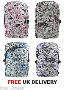 GRAFFITI-Pattern-Cloth-Backpack-Rucksack-Bag-School-College-Cool-Emo-Goth-Bag