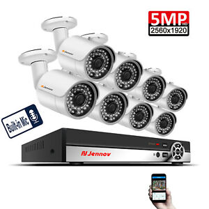 5MP-8CH-POE-Security-Camera-System-Outdoor-Audio-IP-CCTV-NVR-Home-Kit-1TB-HDD-IR