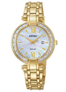Seiko SUT182 SUT182P9 Ladies Solar Diamond GOLD Watch RRP $875.00