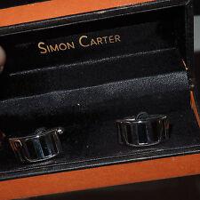 "NIB Simon Carter Black & Silver ""Curve"" Cufflinks Made in England"