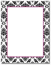 Black White Fuchsia Damask Wedding Bridal Shower Letterhead - 80pk