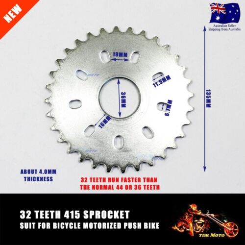 415 32 32T Teeth Cog Sprocket 48cc 49cc 66cc 80cc Motorised Motorized Push Bike