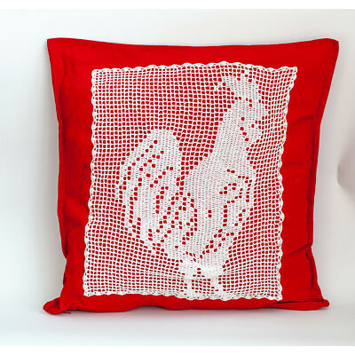Red Linen Cushion With White Lace Rooster Handmade Home Decor 19x19 inches
