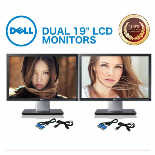 "Dual Dell Professional 19 /""  Black 19-inch Gaming LCD Monitors W// cables"