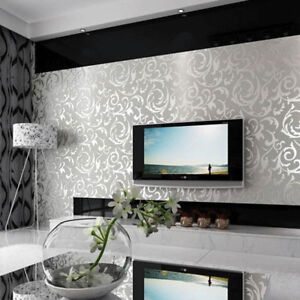 Details About Grey Silver Shimmer Wall Paper White Damask Featured Living Room Wallpaper Embos
