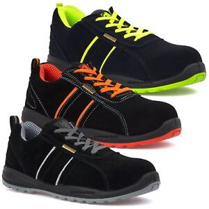 MENS ULTRA LIGHTWEIGHT LEATHER STEEL TOE CAP SAFETY WORK SHOES TRAINERS BOOTS SZ