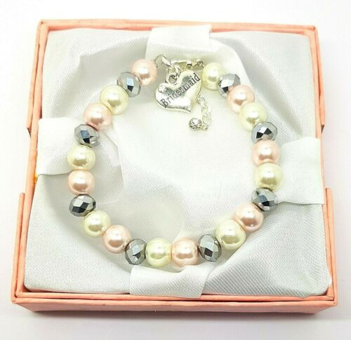 Personalised Pink Silver Wedding Charm Bracelet With Gift Box Free Postage