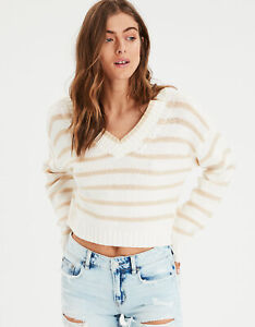 New-Women-s-American-Eagle-Striped-V-Neck-Pullover-Cream-Sweater-Sizes-X-Large