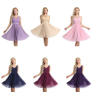 Women-Ladies-V-Neck-Formal-Lace-Prom-Cocktail-Evening-Party-Bridesmaid-Dress