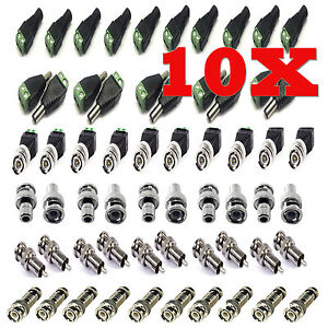 10X-CAT5-UTP-TO-COAXIAL-CAMERA-CCTV-TV-POWER-VIDEO-BALUN-BNC-CABLE-CONNECTORS