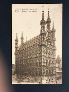 Postcard-Antique-1926-Belgium-Leuven-Hotel-City