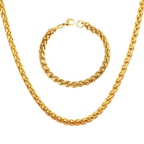 Luxus Set Zopfkette Armband 7 mm 999er Gold 24 Karat vergoldet gelbgold S2939