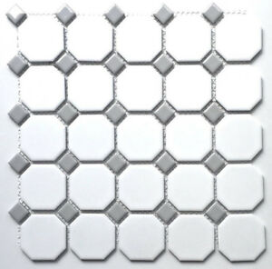 White And Gray Dot Octagon Porcelain Mosaic Floor Wall