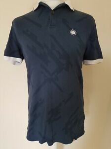 Mens-Pretty-Green-Polo-Shirt-Blue-Medium-Pattern-40-Chest