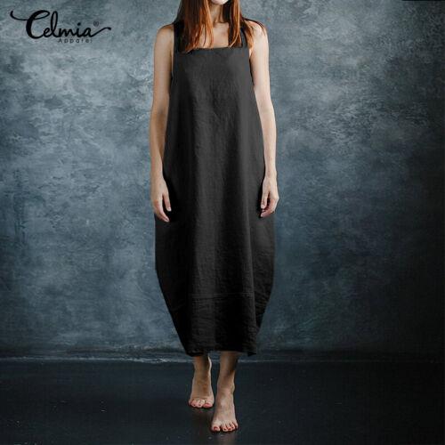 Women Summer Sleeveless Cotton Long Shirt Dress Oversized Solid Loose Maxi Dress
