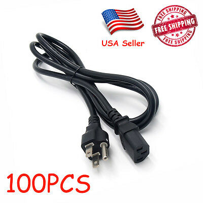 100 PCS 6ft Computer PC Monitor 3 Prong Power Cord Cable IEC320 COMPUTER