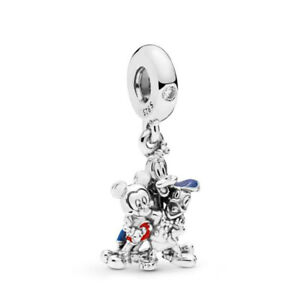 Authentic-925-Sterling-Silver-Mickey-Mouse-amp-Friends-Dangle-Charm-Fit-Bracelets