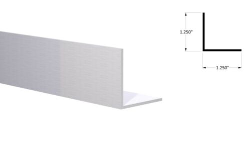 "Aluminum Angle 1-1//4/"" x 1-1//4/"" x 1//16/"" Wall Clear Anodized 6 Foot Length"