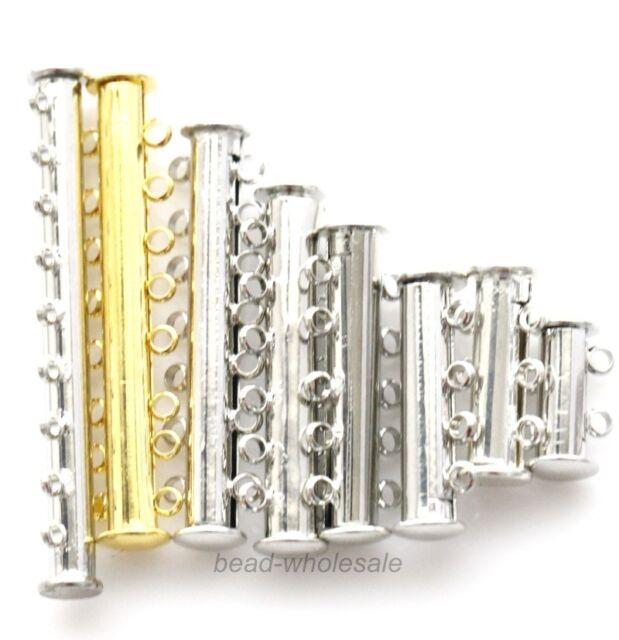 2Sets New Hot sale Metal Magnet Clasp Connectors Bails Silver/Gold Tone 2-9 Rows