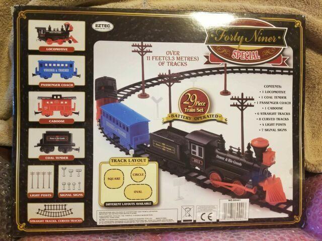 Forty Niner Special Train Set 29 pc EZTEC Silver Denver /& Rio Grande Christmas ?
