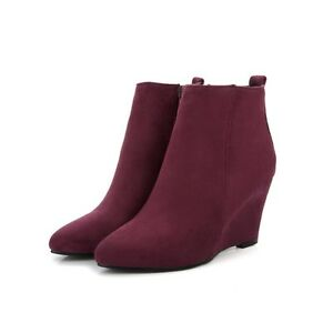 4a8bab021 womens black or blue or wine red wedge heel suede ankle boots shoes ...