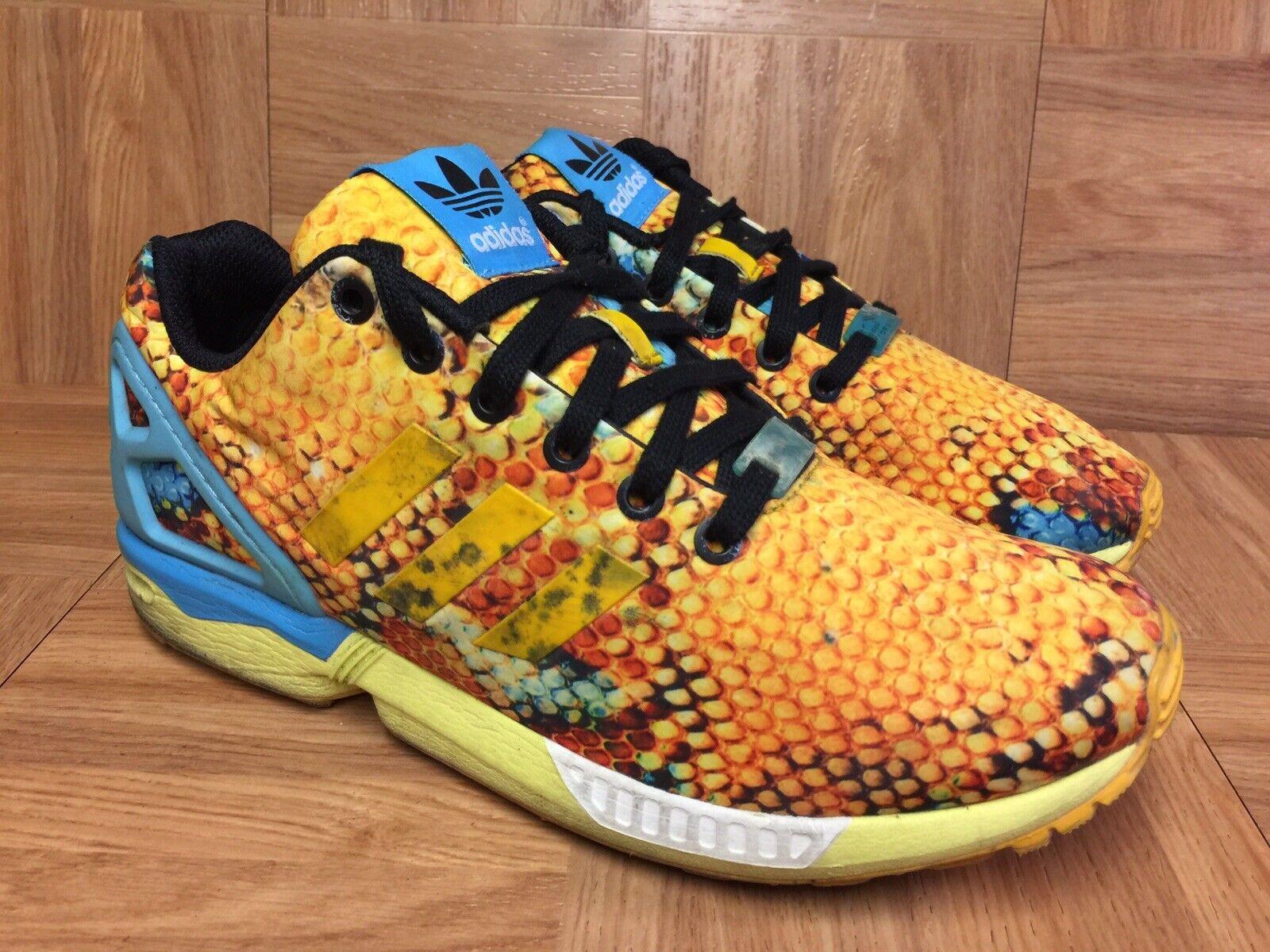 RARE Adidas ZX Flux Trainers Sz 8.5 Women's Running shoes Honeycomb Honey bluee