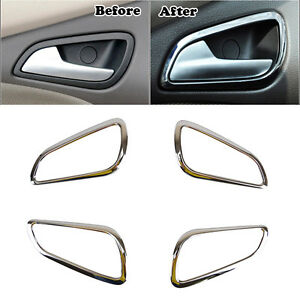 Fit For Ford Focus Mk3 Chrome Interior Door Handle Bowl Cover Trim ...