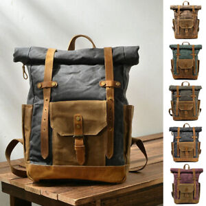 Water-Resisant-Vintage-Waxed-Canvas-Backpack-Outdoor-Hiking-Camping-15-034-Laptop
