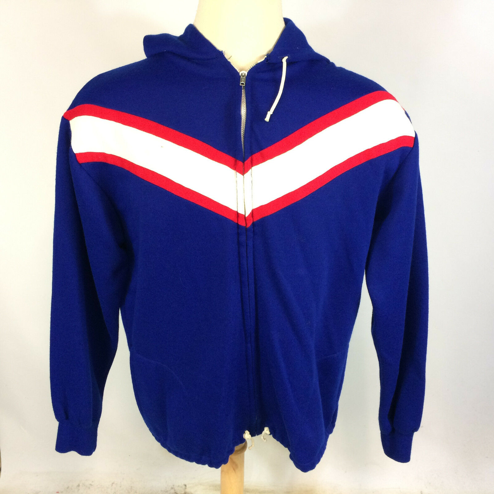 Vintage 70s 80s Poland Hoody Sweatshirt Coat Jacket XL L Blau Sports Acrylic
