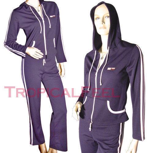 NEW 2pc Navy bluee Long Sleeve Hoodie Pant SET Womens Zip Up Hoodies Sportswear S