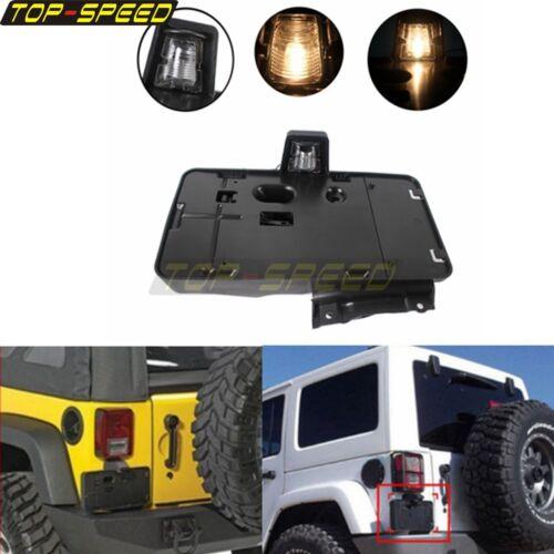 Black Side Mount Rear License Plate Holder Bracket For Jeep Wrangler  2007-2018