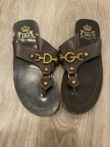 Dolce & Gabbana Dark Brown Leather Gold DG Men's … - image 1