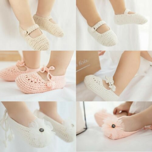 Newborn Handmade Crochet Baby Shoes knitted Soft Sole Crib Shoe Prewalkers 0-9M