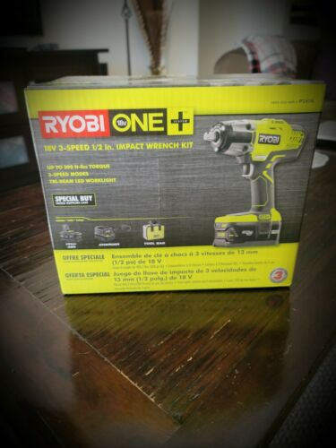 Ryobi One Impact Wrench Kit Incld Battery 18v 3-speed 1//2 in Charger and Bag