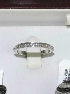 Platinum-Sterling-Silver-Beaded-Design-Plain-Eternity-Band-Ring-Size-7-Gift
