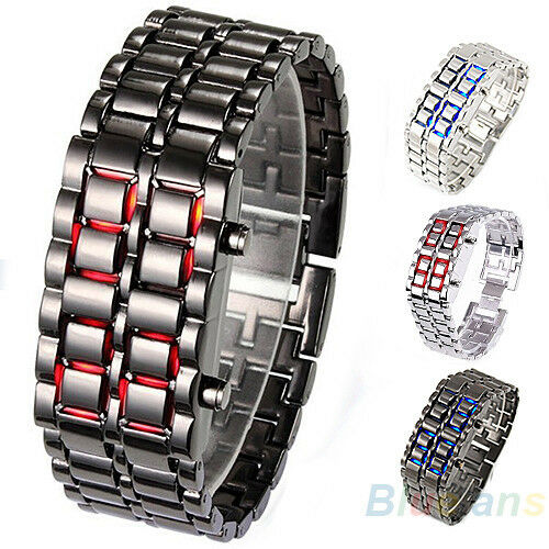 Fashion Mens Lava Iron Wristwatch Samurai Metal Quartz LED Bracelet Watches B81U