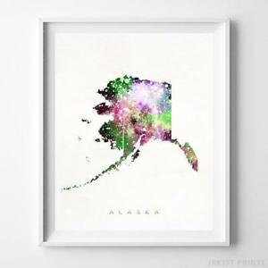 Prime Details About Alaska Watercolor Map Wall Art Home Decor Poster Artwork Gift Print Unframed Home Interior And Landscaping Ologienasavecom