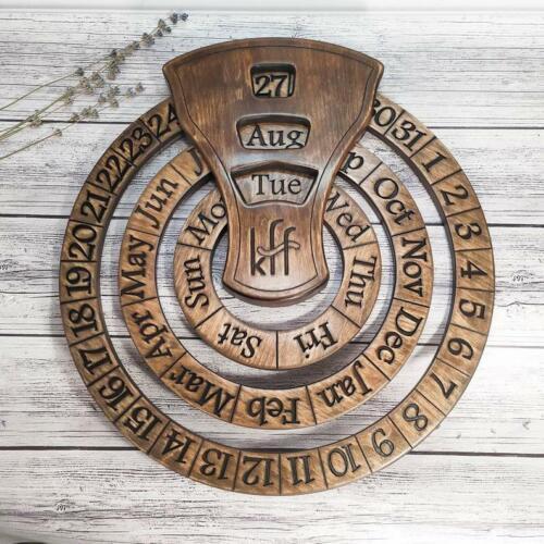 carved rustic calendar Wooden Perpetual Calendar Wood handmade wall calendar