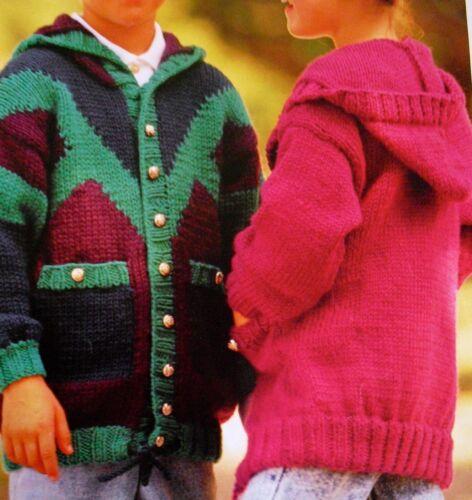 "R704 Boys Girls Chunky Hooded Jacket  20/"" 30/"" Vintage Knitting Pattern"
