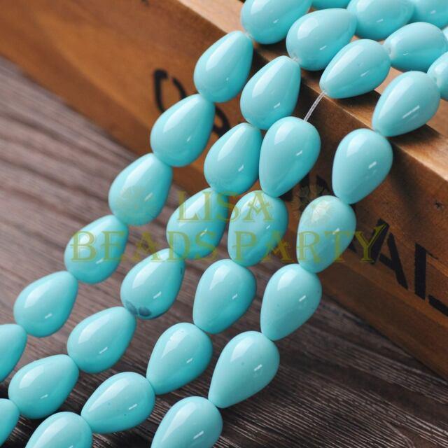 New Arrival 10pcs 14X10mm Teardrop Shape Loose Spacer Glass Beads Lt Lake Blue